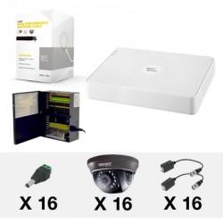 S Series con 16 HRD900(900TVL, WDR Real), 305m Cable Cat5e, Fuente de Poder Profesional, Conectores y Transceptores TITANIUM