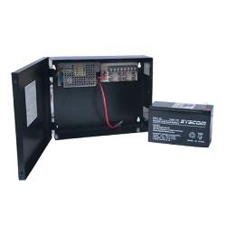 Fuente de Poder para CCTV de 4 Salidas a 12 Vcd. 2.8 Amp. con Respaldo de Baterías.
