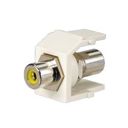 Módulo RCA con conector de paso, RCA amarillo - Blanco mate