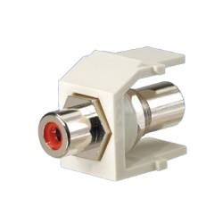 Módulo RCA con conector de paso, RCA rojo - Blanco mate