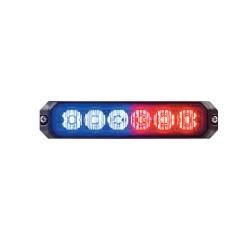 Luz auxiliar de 6 LED's, 12 Vcd, 1 A. Color rojo/azul,
