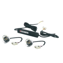 Kit CORNERLED 1 par de lámparas LED color Rojo, incluye fuente de poder, cables y kit de instalación.