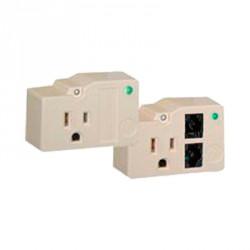 Protector para enchufe con salida única, circuito de 110 V /15 A, tornillo de retención, telco RJ11 entrada / salida