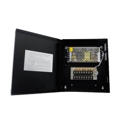 Fuente de Poder Profesional para CCTV de 8 Salidas a 12 Vcd. 5 Amp. Protegido con Fusible Térmico.