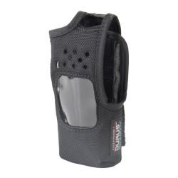 Funda de Nylon con lazo para cinto, capuchón auto-adherible para los botones y visión frontal de pantalla para radios Kenwood.