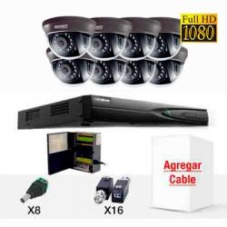 KIT TurboHD(TVI) 8 domos 90 grados, IR 1080P WDR Full HD, TurboHD, balluns, fuente de poder profesional, agregar cable