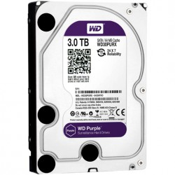Disco duro SATA 3TB serie WD PURPLE optimizado para CCTV, 5400RPM, 24/7