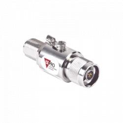 Protector de Línea Coaxial, tipo tubo de gas y paso de C.D., para 0-2.5 GHz, 750W y 0.2 dB de Perdida por Inserción
