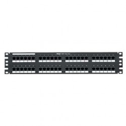 PATCH PANEL 48 PUERTOS 110-MOD 8W8P CATEGORIA 6, CONFIGURACIÓN UNIVERSAL NEGRO 2RU