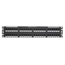 PATCH PANEL 48 PUERTOS 110-MOD 8W8P, T568A/B CATEGORIA 6A IP10 DP6 PLUS, 2RU ROHS NEGRO