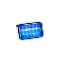 Luz de advertencia Quadraflare LED con flasher integrado y mica transparente. Color azul.