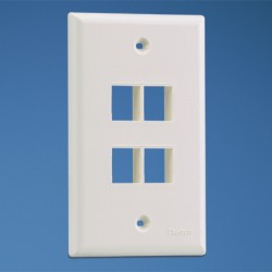 NetKey 4-port, single gang, flush mount vertical faceplate